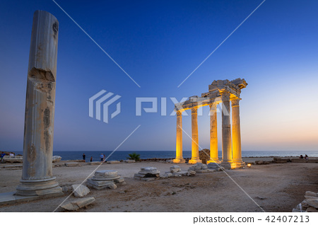 The Temple of Apollo in Side at dusk, Turkey 42407213