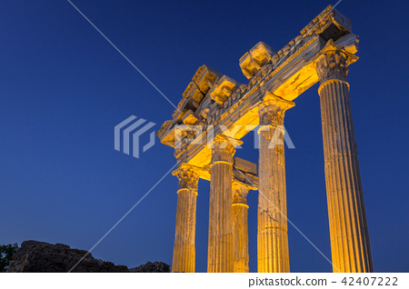The Temple of Apollo in Side at dusk, Turkey 42407222