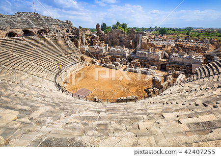 Ancient Roman theatre in Side, Turkey 42407255