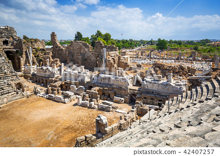 Ancient Roman theatre in Side, Turkey 42407257