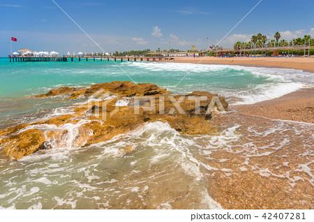 Blue lagoon of the beach on Turkish Riviera 42407281