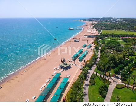 Aerial view of Turkish Riviera near Side. 42407312