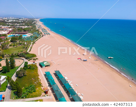 Aerial view of Turkish Riviera near Side. 42407313