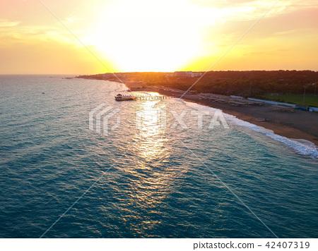 Aerial view of the beach near Side, Turkey 42407319