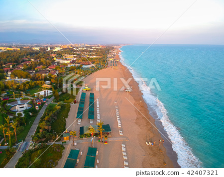 Aerial view of Turkish Riviera near Side. 42407321