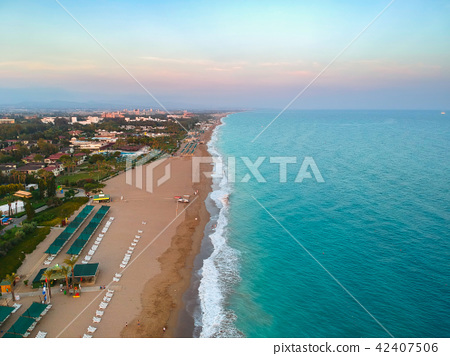 Aerial view of Turkish Riviera near Side. 42407506
