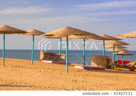 Parasol on the beach of Red Sea in Hurghada, Egypt 42407531