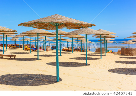 Parasol on the beach of Red Sea in Hurghada, Egypt 42407543