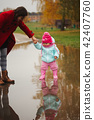 puddle, mother, girl 42407760