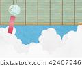 종이의 감촉을 느낄 일러스트 (여름 하늘, 뭉게 구름, 풍경) 42407946