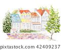 거리 교외 그린 수채화 42409237