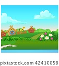 Cute poster with wooden country houses, grassy meadow. Vector cartoon close-up illustration. 42410059