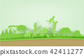 family on ecology green world in paper art style 42411277