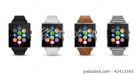 智能手錶手錶4顏色矢量圖白色背 42413365
