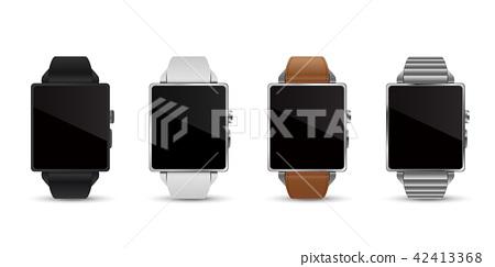 智能手錶手錶4顏色矢量圖白色背 42413368