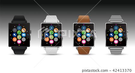 智能手錶手錶4顏色矢量圖 42413370