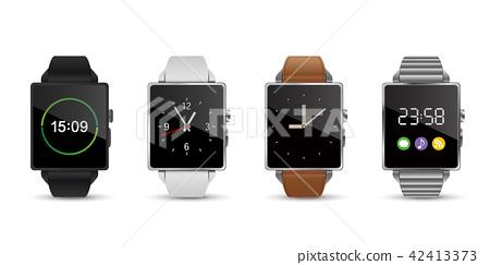 智能手錶手錶4顏色矢量圖白色背 42413373