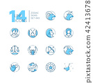 Zodiac signs - set of line design style icons 42413678