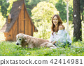 젊은여자, 개, 강아지, 애완동물, 골든 리트리버 42414981