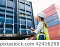 woman checking container box for logistic 42416209