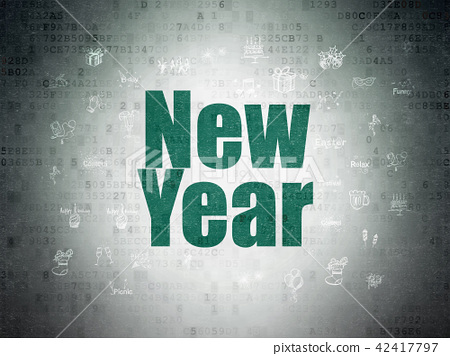 Holiday concept: New Year on Digital Data Paper background 42417797