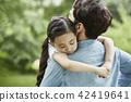 家庭,公园,自然,森林,孩子,孩子,夏天,假期,野餐,度假 42419641
