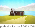 house / cottage in mountain landscape illustration 42419754