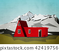 house / cottage in mountain landscape illustration 42419756