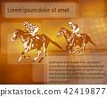 jockeys on racing horses over abstract background 42419877