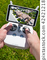 Hands Holding Drone Quadcopter Controller With Residential Homes 42421218
