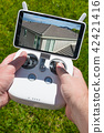 Hands Hold Drone Quadcopter Controls of Rooftop 42421416