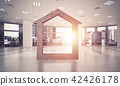 Conceptual background image of concrete home sign in modern office interior 42426178