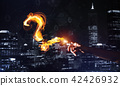 Concept of help or support with fire burning question mark against night city background 42426932