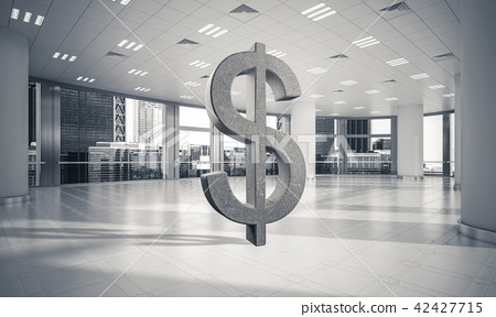 Money making and wealth concept presented by stone dollar symbol in office room 42427715
