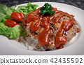 Hamburger meat with rice and salad 42435592