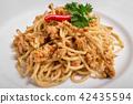 Spicy pork spaghetti on a white plate 42435594