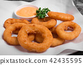 Plate of delicious looking golden onion rings 42435595
