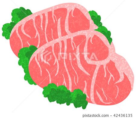 Raw meat hand-drawn wind 42436135