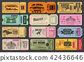 Car and horse racing retro tickets 42436646