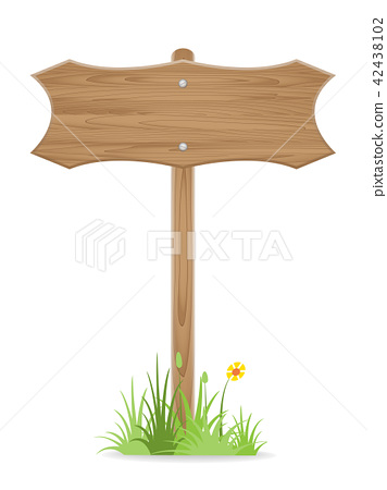 Wooden signpost on grass with flower isolated 42438102
