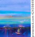Oil paintings with boat, sail on sea. 42439849