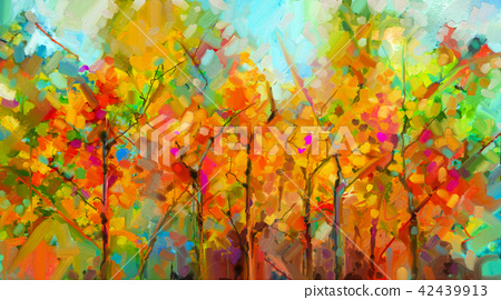 Abstract colorful oil painting landscape on canvas 42439913