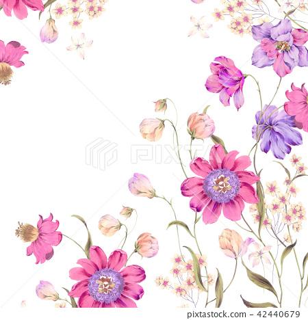 水彩紅色花卉 42440679