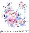 水彩玫瑰花卉 42440787