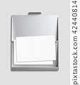 Business card and cardholder isolated on grey 42440814