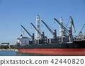 裝載貨船船身和起重機 42440820