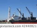 裝載貨船船身和起重機 42440821