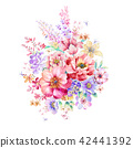红色水彩玫瑰花卉组合 42441392