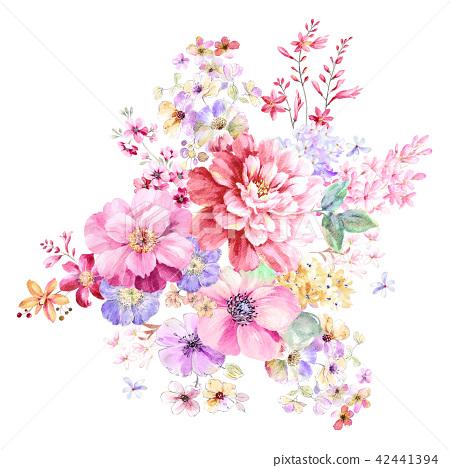 紅色水彩玫瑰花卉組合 42441394