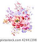 红色水彩玫瑰花卉组合 42441398
